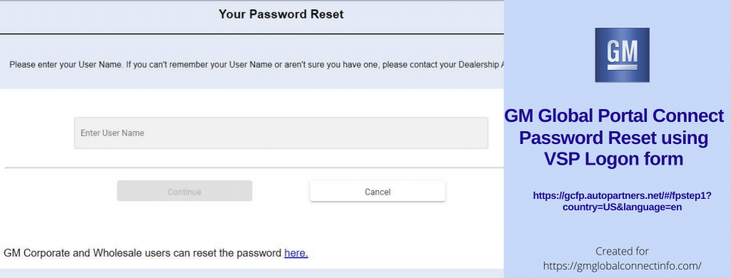 General Motors - VSP Login Page - Password Reset